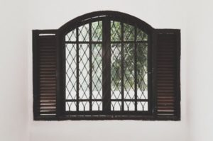 Window with metal bars